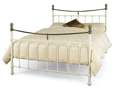 Victorian Antique Traditional style ivory white & brass metal tubular bed frame