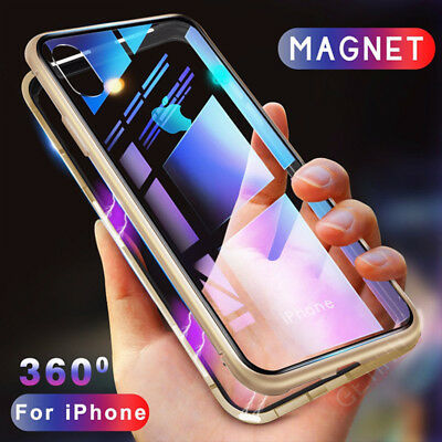 Luxury Magnetic For IPhone XS MAX XR Adsorption Metal Case+ Free Tempered Glass