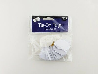 100 White Xmas Present Tags String Tie on Luggage Tag Parcel Price Label Ticket