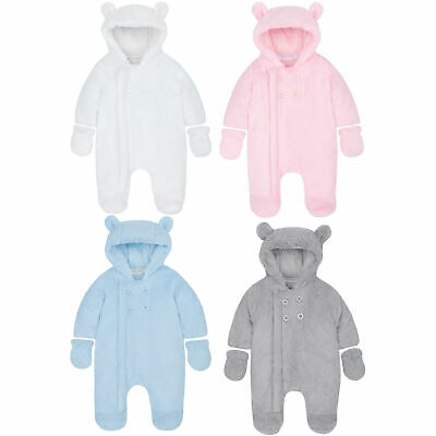 Baby Unisex Pram Suit Newborn Body Suit All In One Fluffy Mittens Hooded Warm