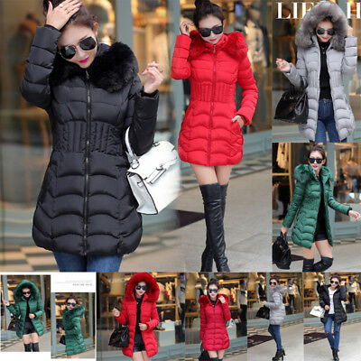 Womens Hooded Warm Jacket Ladies Fur Down Winter Quilted Long Parka Coat Jacket