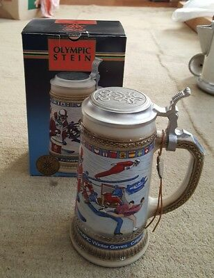 Anheuser-Busch Official Olympic Lidded Stein 1988 Winter Games Calgary NIB