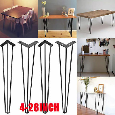 """Set Of 4 Industrial Hairpin Dining Coffee Table Legs Stool Desk 2 / 3 Rod 4"""" 28"""""""