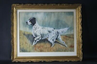 Vintage Dog Painting/ Watercolor English Setter Hunting Dog Pointer By Easton NR