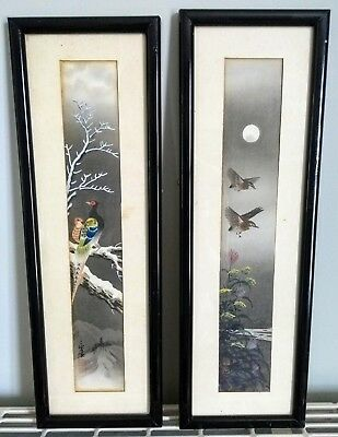 Pair Framed Japanese Chinese Watercolour Birds Signed Red Seal Marks