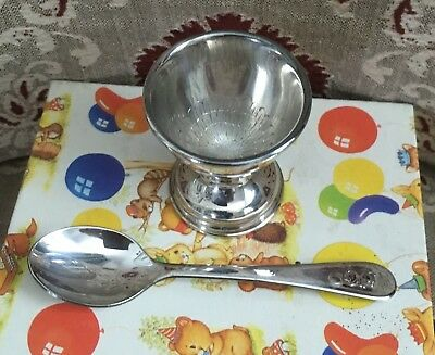 Vintage EGG CUP & SPOON Boxed Silver Plated Christening Set