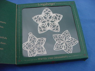 Longaberger Pewter Star Christmas Ornaments 2001 In Orig Box