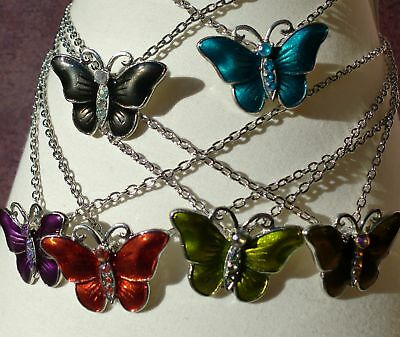 Wholesale & Job Lot of 6 Enamel Butterfly Necklaces in 6 Different Colours