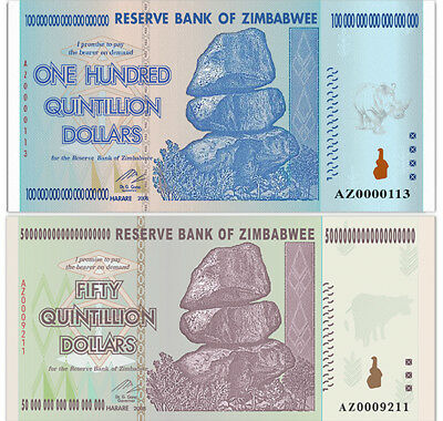 🔥Zimbabwee 100 Trillion Dollars, AZ/2008, P-91,UNC, 50/100 Quintillion Series🔥
