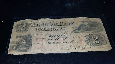 186x May $2 THE UNION BANK OF DELAWARE WILMINGTON OBSOLETE