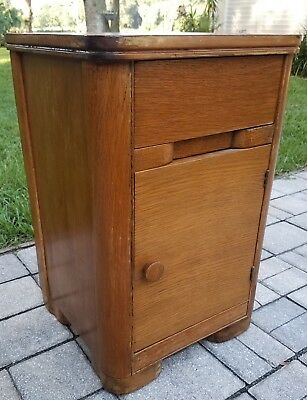Vintage art deco nightstand cabinet end table oak Mid-Century Modern furniture
