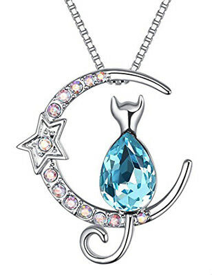 Heart Cat Moon Star Necklace Pendant Crystal Chain Made with Swarovski Elements