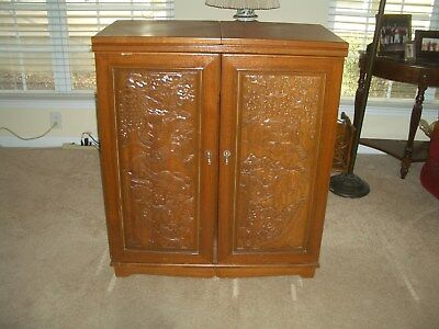 Liquor Cabinet Wine Bar Expandable Storage Carved Wood Oriental Design