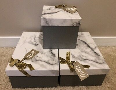 Target Wondershop Lot Of 3 Marble Gray Decorative Gift Boxes Storage Christmas
