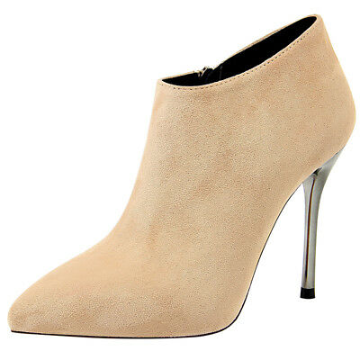 Women Ankle Boots Sexy Suede Pointed Toe Stiletto Super High Heel Zipper Shoes