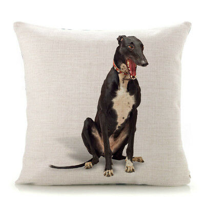 Greyhound Cushion Cover Gifts Collectables Present Gift Black Greyhounds