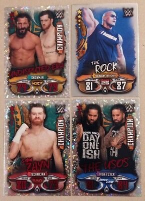 Topps Slam Attax Live - Champion Cards Nr. 11 24 31 plus The Rock Nr. 76