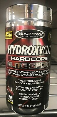 Hydroxycut Hardcore Elite Sport 70ct New/Sealed Fast Free Shipping Weight Loss