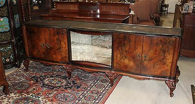 French Antique Carved Burl Walnut Long Venetian Sideboard Buffet Sink Furniture