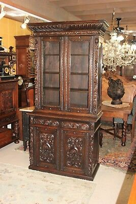 Antique Carved Oak Renaissance Large Bookcase Glass Door Display Cabinet Buffet