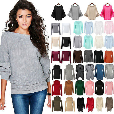 Womens Long Sleeve Sweater Loose Jumper Winter Knitted Baggy Casual Pullover Top