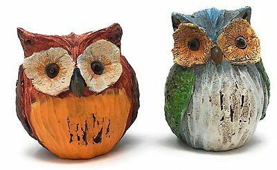 Green Tree Carved Resin Wise Owls, Set of 2 Figurines