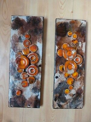2 x Ruscha Keramik Platte 35 x 12,5 Relief Pop Art 60er 70er Mushrooms Wandbild