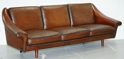 Fully Restored Aage Christiansen Hand Dyed Vintage Brown Leather 3 Seat Sofa
