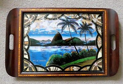 Vintage Wooden Inlaid Tray, Butterfly Wings Under Glass depict Rio de Janeiro