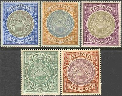 1903-12 Antigua #24-5, 29, 31, 33 Mint Hinged Group of 5 Seal of the Colony