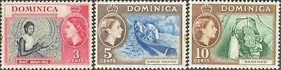 1957 Dominica #157-9 Mint Hinged Short Set Queen Elizabeth II Commemoratives