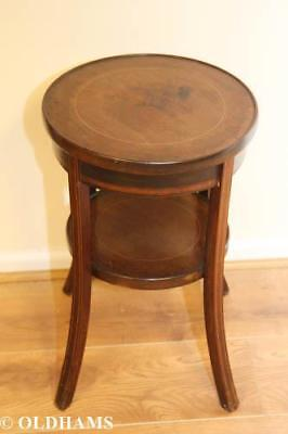 Vintage Circular Mahogany Wine Table with Shelf and Stringing