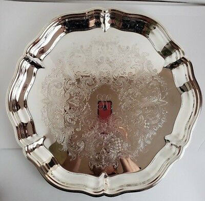 "REED & BARTON Silver Plated Scalloped Round Tea Serving Tray with ""K"" - 14.5"""