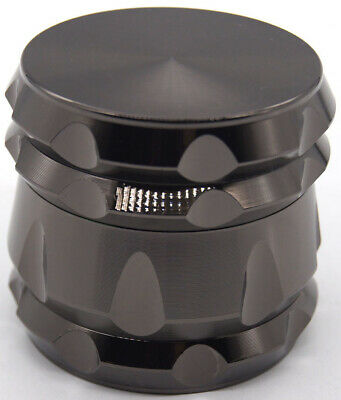 "2.2""  55 mm  4 Piece Grinder Herb Spice Crusher BLACK Color 161* USA SELLER*"