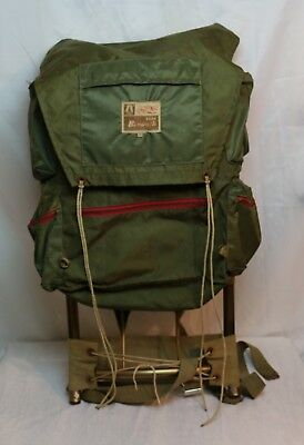 Vintage Backpack - Bonanza By Academy - External Frame - Green Nylon