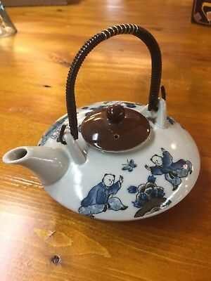 Japanese Vintage 1960's Mid Century Teapot, Glazed Pottery, Blue Bonsai Trees