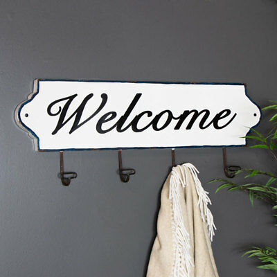 Large Industrial 4 Hook Metal Coat Rack Wall Mounted Hall Way Welcome Sign