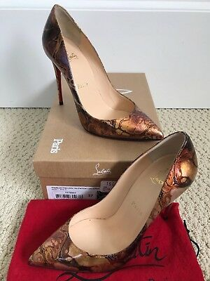 new concept c8101 d0bad NIB CHRISTIAN LOUBOUTIN Pigalle Follies Bronze Saturne Patent Pointed Pumps  37 7