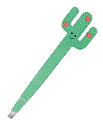 New Sass & Belle Happy Cactus Slanted Tweezers Green Smiling Face Precision Tip