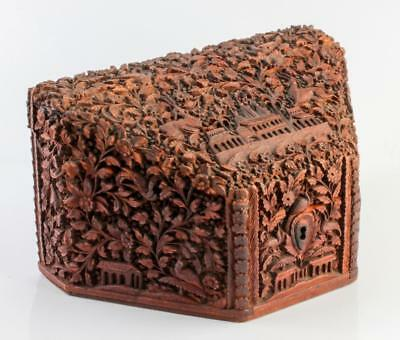 ANTIQUE ANGLO INDIAN CARVED SANDALWOOD BOX c1890 BEAUTIFUL CARVING NO RESERVE!
