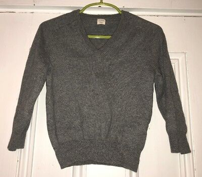 J Crew Crewcuts Gray V Neck Sweater Cotton Cashmere Boys Sz 2