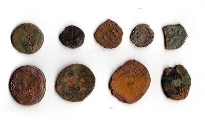 ANCIENT COINS Lot of 9 UNCLEANED ROMAN COINS Copper & Bronze