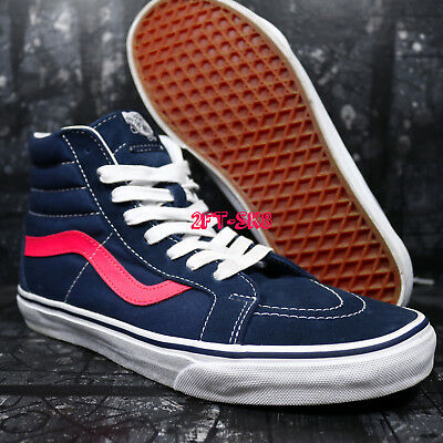 e106610b715962 Vans Sk8 Hi Neon Leather Dress Blues Pink Men s High Top Skate Shoes   s89164.