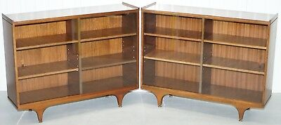 Pair Of Sculpted Mid Century Modern Teak Bookcases With Glass Sliding Doors