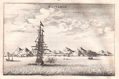 1668 Heytamon Schiff ship Asia China Asien Kupferstich antique print Nieuhof