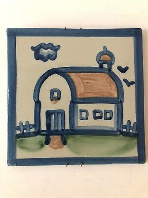 "M A Hadley Barn Tile Trivet 6"" Square Hand Painted Art Pottery USA Farm"