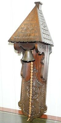 Stunning Antique Hand Carved Wood Victorian Door Entrance Bell Grand Piece