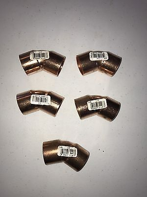 NIBCO C606 11/4 Elbow, 45, Wrot Copper, 1-1/4 x 1-1/4 In Lot If (5)