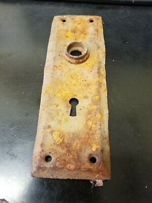 Antique Vintage Brass Arts Crafts Mission Door Knob Lock Key Hole Plate
