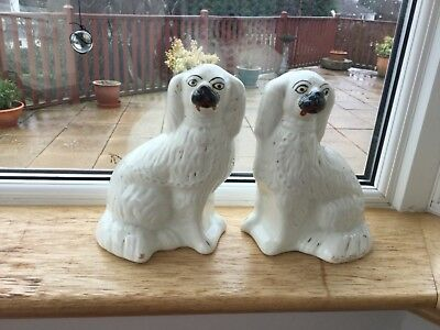 "PAIR VINTAGE DOG FIRESIDE MANTLE PIECE WALLY DUGS / DOGS 8.5"" tall PEKINESE ?"